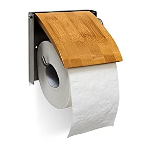 Relaxdays Mounted Roll Made of Bamboo and Stainless Steel Bathroom Wall Toilet Paper Holder, Natural, Brown, 2.5 x 14.5 x 13.5 cm