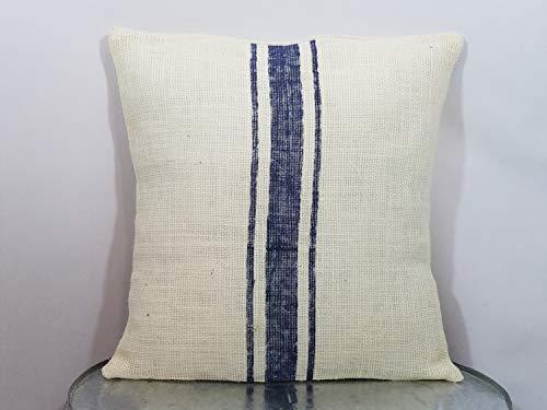 Funda de Almohada de arpillera Natural a Rayas de Color Azul Marino y Marfil, 565 PIR