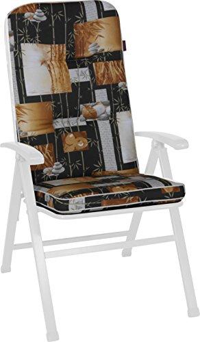 Angerer Stuhlauflage, Exklusiv Sesselpolster hoch Design Bambus, braun, 120x50x7 cm, 1024/075