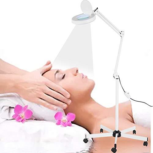Alucy 8 x LED-Leuchten Lupenlicht Lupe Fuß Stehleuchte Schönheit Maniküre Tattoo LED mit 5 Rädern weiß, EU -