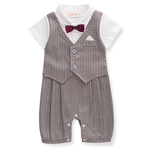 ARAUS-Baby Junge Kurzarm Anzug Strampler mit Weste Fliege Streifen Gentelman Baumwolle Bekleidung für Kinder 3-18 Monate (Baumwolle Kurzarm-anzug)