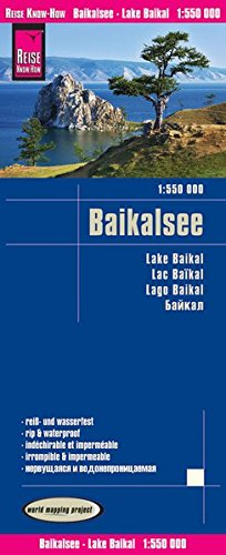 Lago Baikal, mapa impermeable de carreteras. Escala 1:550.000. Reise Know-How.