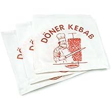 Bolsas de papel de tamaño kebab x 15 cm-15-Caja de 3000 bolsas desechables abiertos en dos lados impresas-Sobres con logotipo rojo döner kebab Ideal para la pared, diseño de bocadillos y sandwiches hamburgers