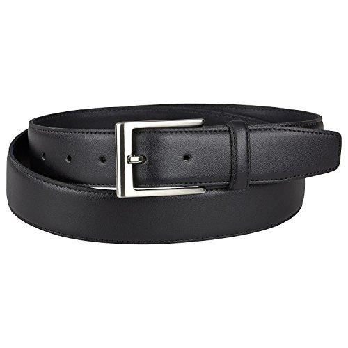 LINDENMANN Schwarzer Anzuggürtel bis 150cm & 35mm breit, Größe:115