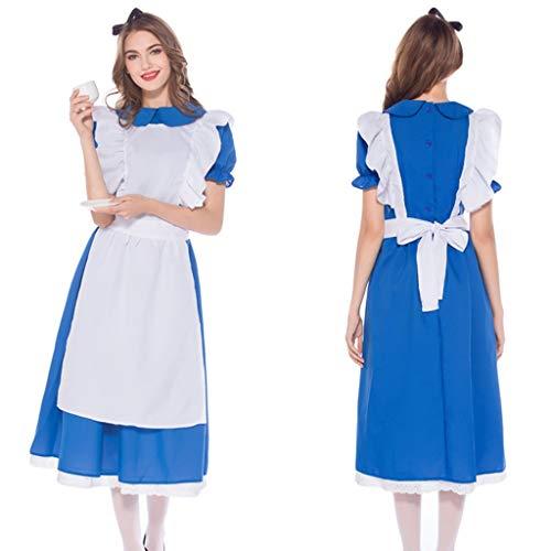 ToDIDAF Oktoberfest Dirndl Damen Kleid Bayerische Tracht Cosplay Kostüm for Oktoberfest Karneval Halloween Party Blau S (Bierkrug Damen Kleid Kostüm)