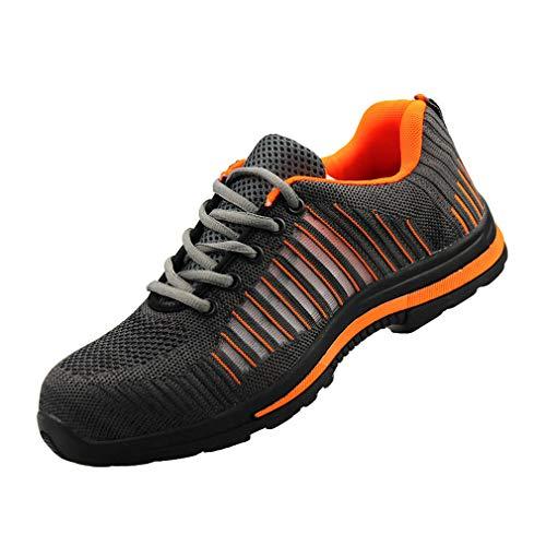 Mxssi Herren Damen Arbeitsschuhe Stahlkappe Sicherheitsschuhe Atmungsaktiv Mesh Sportlich Trekking Schuhe Schutzschuhe Turnschuhe Unisex Trekking Wanderhalbschuhe