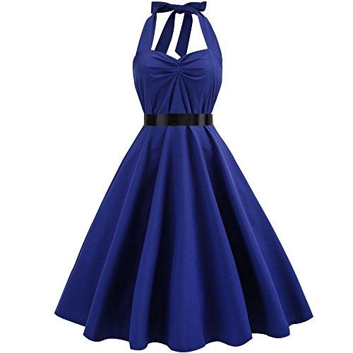 e Retro 1950er Rockabilly Neckholder Kleid Knielang Polka Dots Elegant Festlich Cocktailkleider Sommer Karneval Fasching Fasnacht Business Party Abendkleid ()