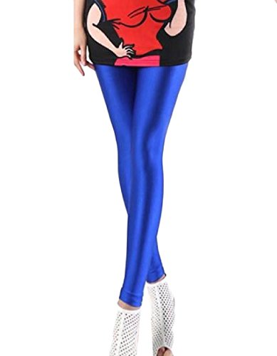 Aooword-women clothes Damen stretch thin jogging tenths colortone yoga sporthose lengging One Size Royal Blau -