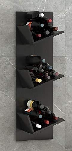 VCM Regal Weinregal Wandregal Hängeregal Wein Regal Flaschenregal Holz Schwarz 106 x 33 x 26 cm