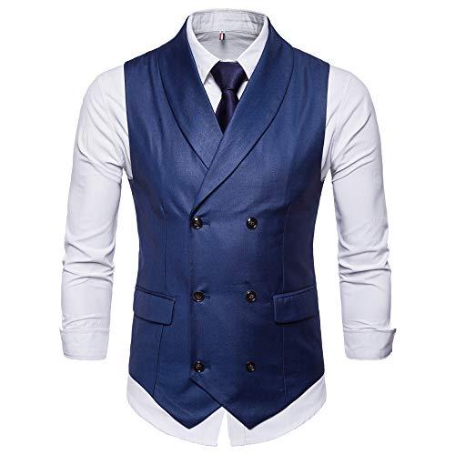 TWBB Mantel Herren Weste Tuxedo Waistcoat Passen Zweireiher Pullover Einfarbig Jacke Hochzeit Mit Gefälschte Tasche Formal Schlank Ohne Ärmel Oberteile Tops