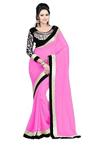 Kjp Villa Women\'s Georgette pink Free Size embroidery Saree With Blouse Pics (zeel saree-143)