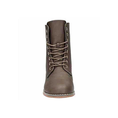 Damen Schnür Stiefeletten Biker Boots Stiefel Warm Gefütterte Schuhe Taup