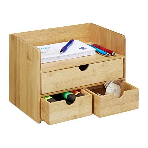 Relaxdays Schreibtisch Organizer, Bambus Briefablage, Schubladen für Büro Utensilien, Ordnungssystem Schreibtisch, Natur -