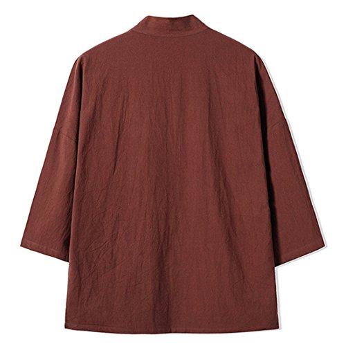 Mirecoo Herren Baumwolle Haori V-Kragen Kimono-Jacke Kaffeebraun