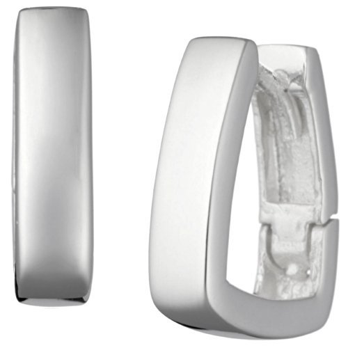 Vinani Klapp-Creolen viereckig glänzend Sterling Silber 925 Ohrringe CVG