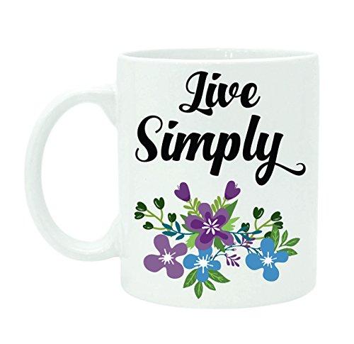 Live Simply Mug, Tasse imprimée de thé de café de tasse tasse blanche avec la boîte de cadeau libre