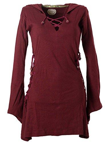 Vishes - Alternative Bekleidung - Elfenkleid mit Zipfelkapuze und Bändern zum Schnüren dunkelrot 48-50