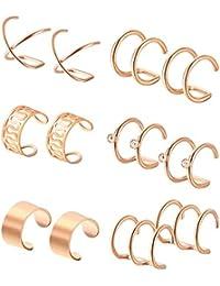 Hestya 6 Pairs Stainless Steel Ear Clips Non Piercing Hoop Ear Cuffs Cartilage Ear Clips Set for Men Women 6