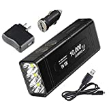 Combo NITECORE TM10K TYPE-C Rechargeable Flashlight - 10,000 Lumen Burst Output -Battery Included w/USB Cord, Wall/Car Adapters