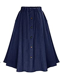 DianShaoA Mujeres Largo Denim Falda De Mezclilla con Botones Casual Jeans  Vaqueras Plisada Azul e333175cbb8c