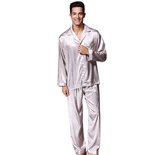 Classic Satin Pyjama Set (Herren Classic Satin Pyjama Set Nachtwäsche,Gray,L)