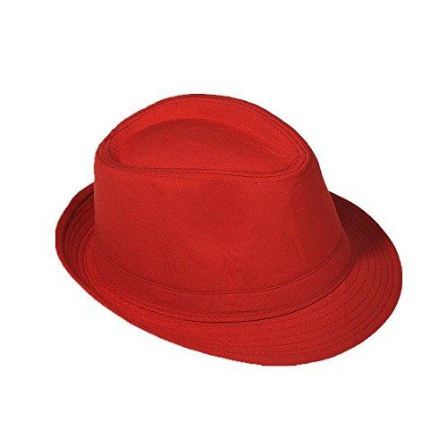 Strohhut Panama Fedora Trilby Gangster Hut Sonnenhut mit Stoffband Farbe:-Rot Gr:-58