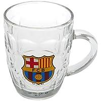 F.C. Barcelona jarra de cristal cerveza Tankard 12 cm de alto aprox en una caja de