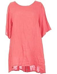 Mesdames Womens Lagenlook italienne excentrique Short Sleeve demi bouton dos plaine tunique lin robe One Size UK 12-16