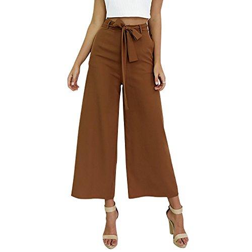 Dolamen Damen Hose, Lange Beinabschluss aus der Tasche, Damen Breitem Hosen Stretch, Perfekt für Freizeit, Schule und Büro Braun
