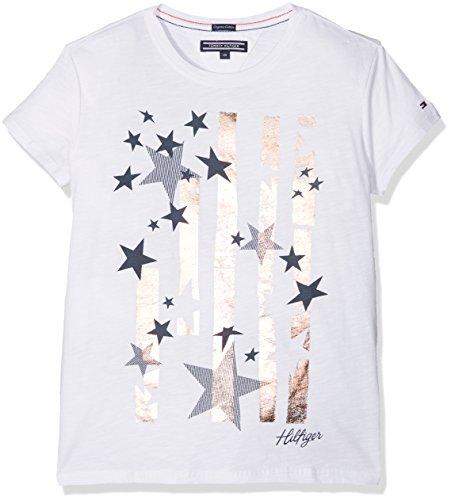 Tommy Hilfiger Mädchen T-Shirt Bright Stars Tee S/S, Weiß (Bright White 123), 98 (Herstellergröße: 3) (Print Star Tee)