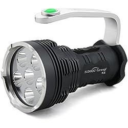 Sidiou Group Searchlight haute puissance 8000 Lumens 6x Cree Xm-l T6 Super Bright LED lampe de poche Projecteur (Lampe de poche uniquement)