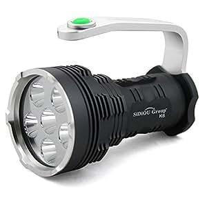 Sidiou Group Searchlight High-power Super Bright 8000 Lumens 6x Xm-l T6 LED Flashlight Searchlight (Flashlight only)