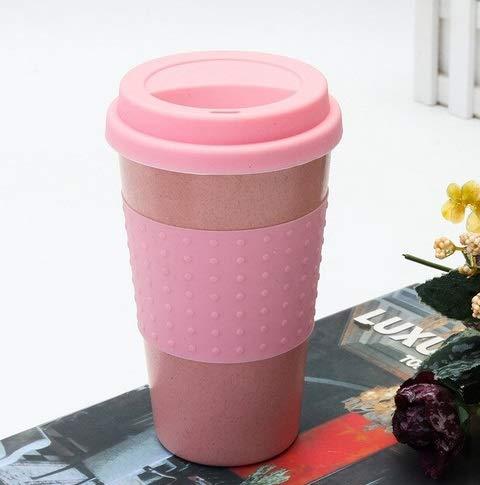 Mister Myr Kaffeebecher to go Bambus 330 ml| Coffee to go Becher Bamboo für Kaffee & Tee | to go Becher mit Deckel, Griff & Auslaufschutz (Rosa)
