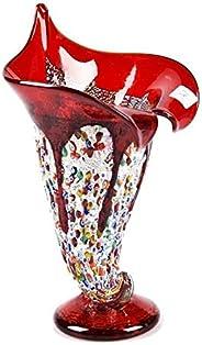 Vaso in vetro di Murrine, vaso di vetro rosso con murrine, vaso di vetro fatto a mano, vaso tradizionale, idea