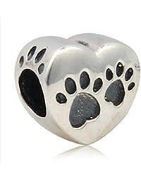 Love a presión de cachorro de perro para tienda de campaña de huellas de auténtico de ley 925 en forma de corazón plateado colgantes compatible con joyas Pandora