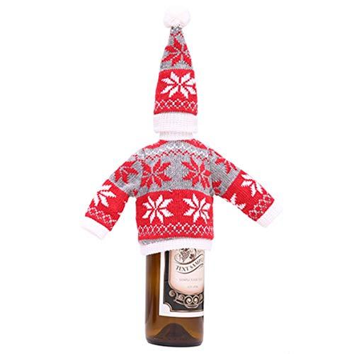 Kongqiabona Weihnachten Wein Abdeckung Pullover hässliche Wein Abdeckung Weihnachtsbaum Ren Schneemann Rotwein Flasche Abdeckung für Weihnachtsfeier Dekor