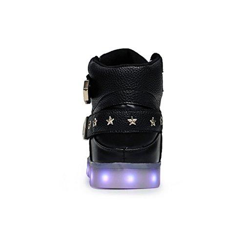Joymoze Basket LED rechargeable avec 7 couleurs LED lumineux unisexe chaussure High Top clignotant chaussure de jogging avec Rivets Chaussures Sport pour hommes et femmes Noir
