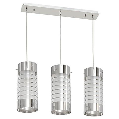 Suspension style moderne, armature en métal coloré en chrome, plafonniers en métal 3 ampoules E27 3x60W 230V