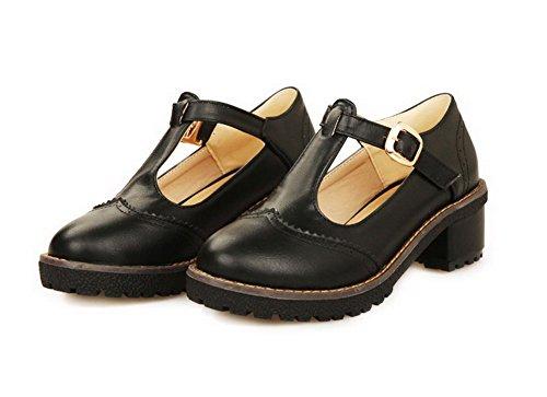 AllhqFashion Femme Boucle Rond à Talon Correct Pu Cuir Couleur Unie Chaussures Légeres Noir