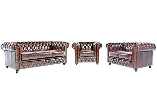 Chesterfield Showroom - Original Chesterfield Sofa / Couch - 1+2+3-Sitzer - Echtes Leder handgewischt - Antik-braun