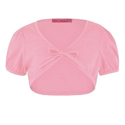 Girls Tie Front Bolero in Baby Pink 1/2 Years