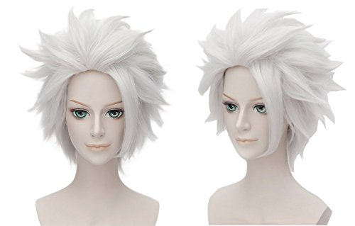 Hitsugaya Kostüme Cosplay Toushirou (Hitsugaya Toushirou Perücke Wig Anime Cosplay Kostüm Weiß Kurz Haar Zubehör Hair)