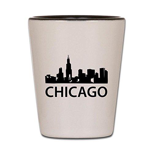 CafePress–Chicago Skyline–Schnapsglas, Einzigartige und lustige Shot Glas weiß / schwarz