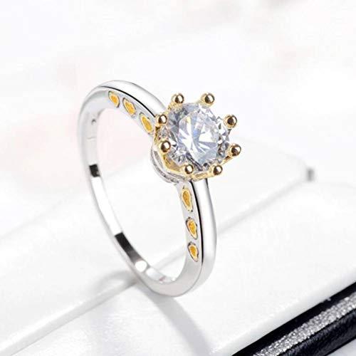 Thumby Western Ring Ring Farbe Trennung Krone Zirkon Ring Herzförmigen Ring Schmuck, Weiblich, Flacher Ring, Krallen Gesetzt, Zirkon, Xcsr008, Weiß Platin, US 8