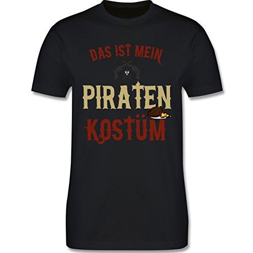 & Fasching - Das ist mein Piraten Kostüm - XL - Schwarz - L190 - Herren T-Shirt Rundhals (Einfach Pirat Kostüm)