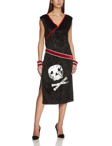 MA315 L - Piratin Askanja Kostüm, Größe L, schwarz/silber/rot