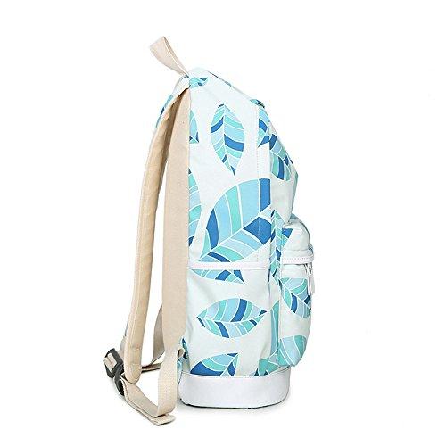 Blätter gedruckt Casual Canvas Rucksack Schultasche Laptop Tasche Rucksack für Jugendlich Junge Mädchen Sky Blue