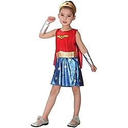 Disfraz para niña de Wonder Woman Disfraces de Halloween Carnival Cosplay (talla XL 130-140cm)