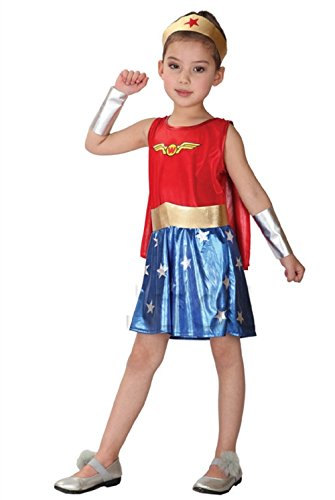 Costume per bambina da wonder woman travestimenti halloween carnevale cosplay ( taglia l 120-130cm )