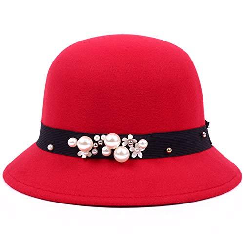 hat-maihef Hut weibliche Wollmütze Damen Frühling und Sommer koreanische Mode Blumen Frühling Winddicht Jazz Becken Kappe [Perle] rot einstellbar